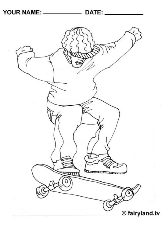 Coloring page skateboard