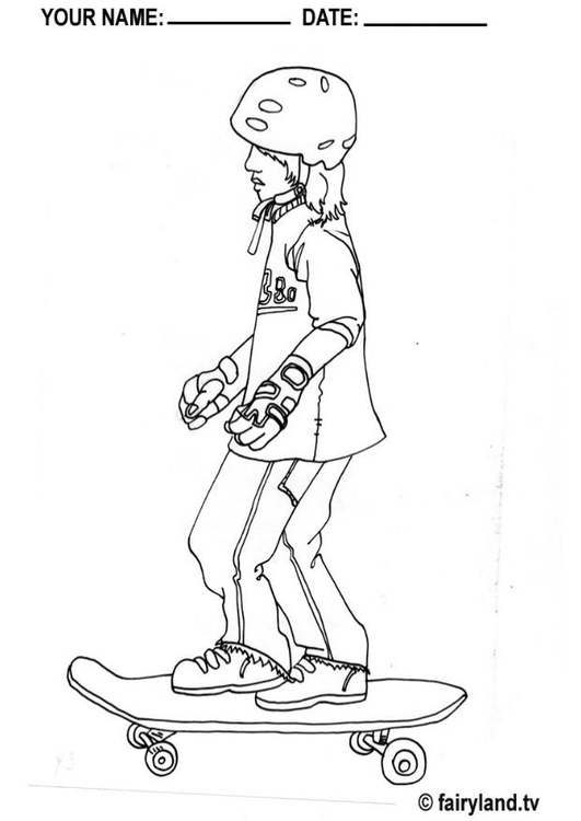 Skateboard #12 (Transportation) – Printable coloring pages | 750x531