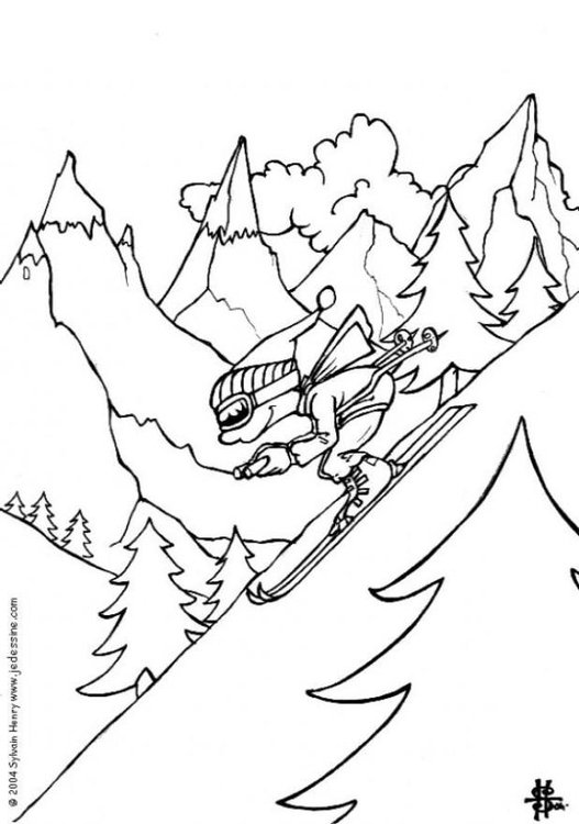 Coloring page skiing