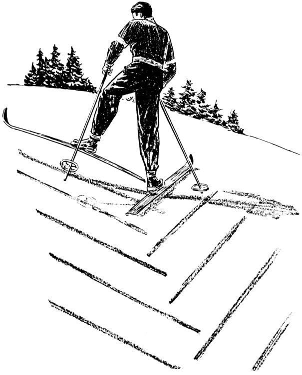 Coloring page skiing, going uphill