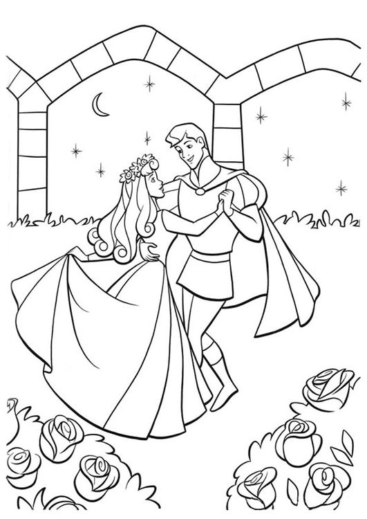 coloring page sleeping beauty with prince