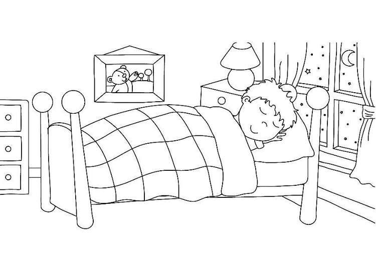 Coloring page sleeping - going to bed