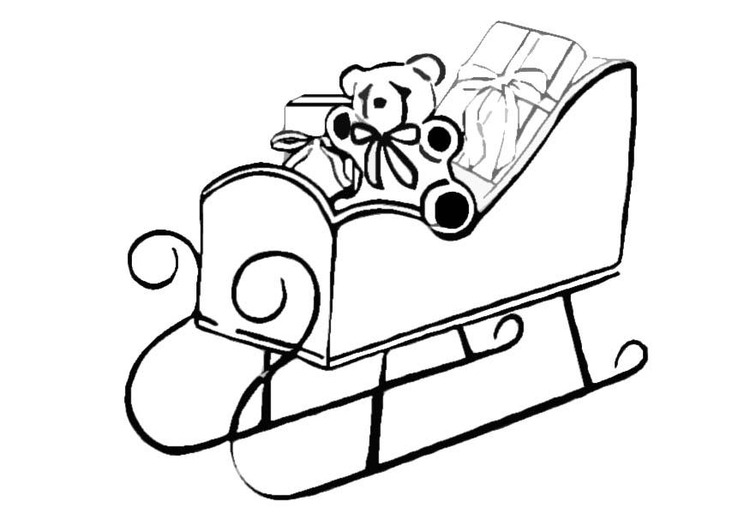 Coloring page sleigh