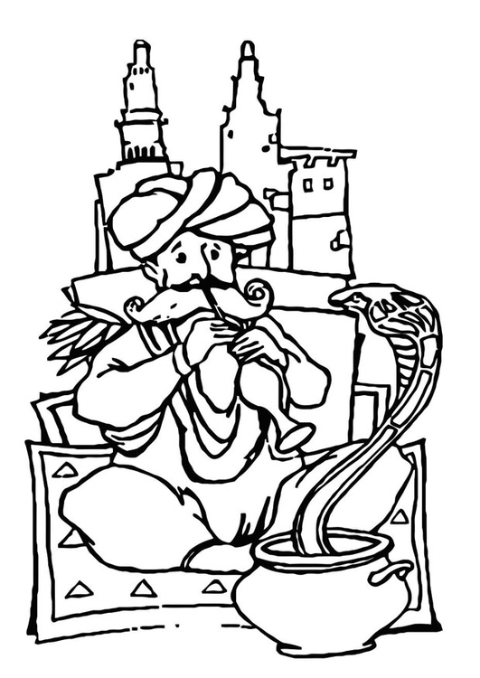 Coloring page snake charmer