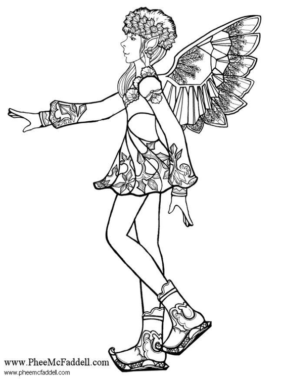 Coloring page snowflake fairy 2