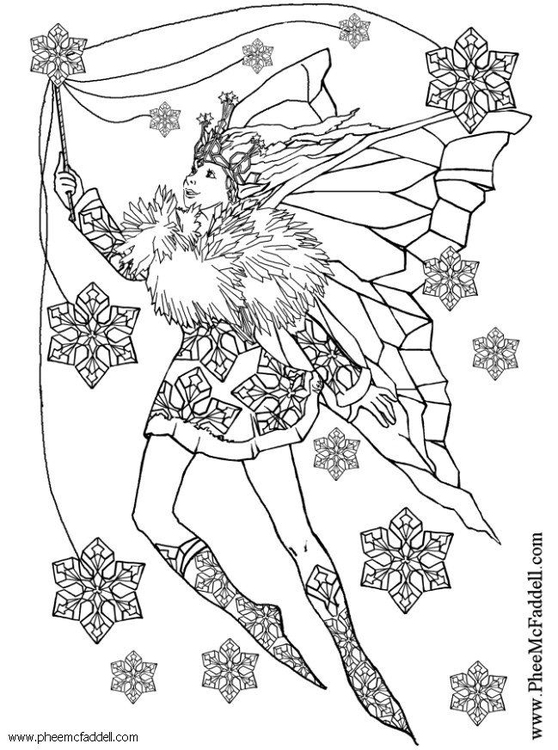 Coloring page snowflake fairy