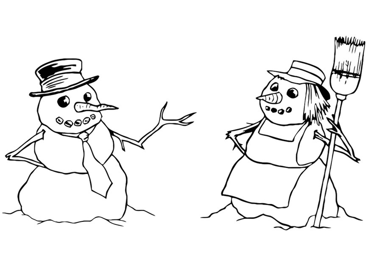 Coloring page snowman and snow-woman