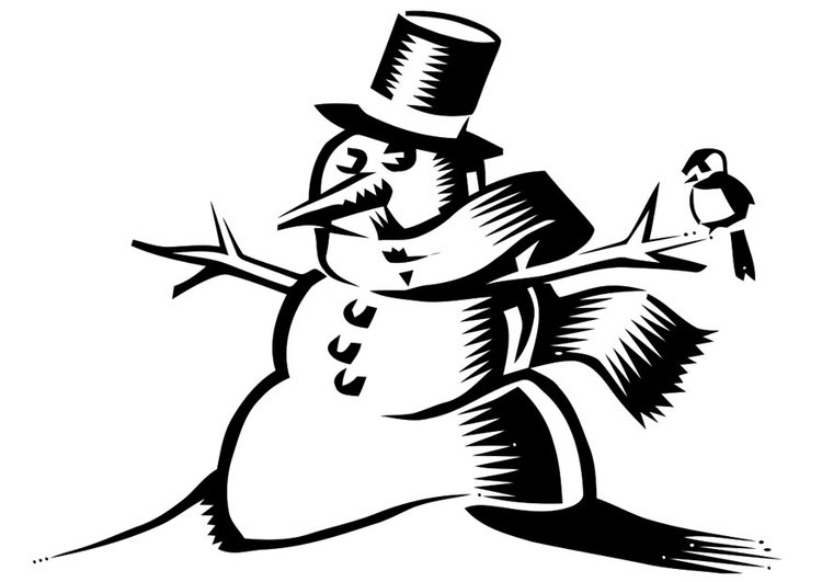 Coloring page snowman