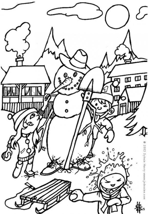 Coloring page snowman - throwing snowballs