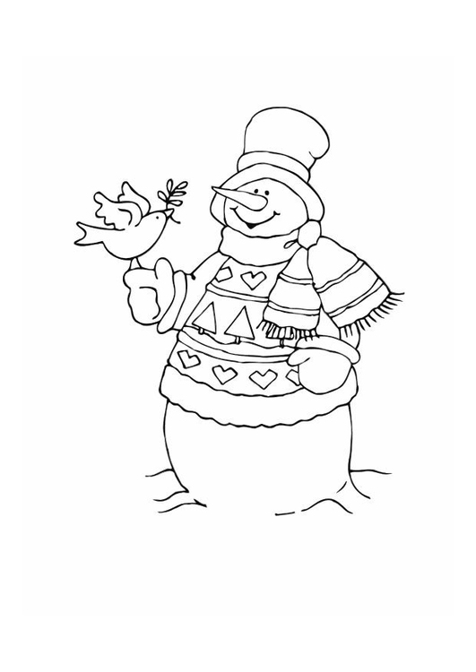 Coloring page snowman with bird