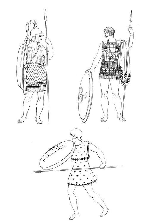 Coloring page Soldier of ancient Greece