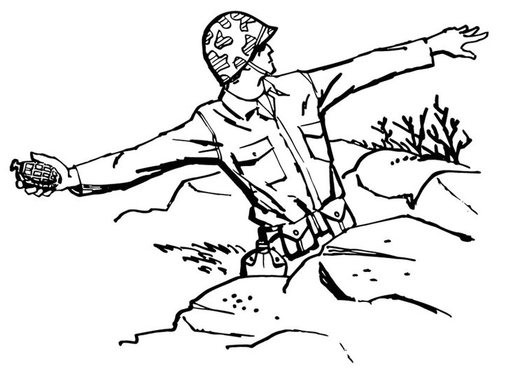 Coloring page soldier throws grenade