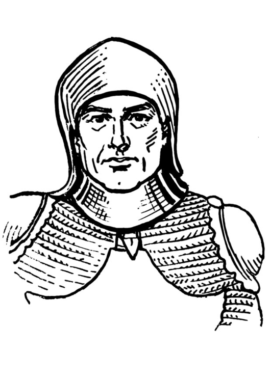Coloring page soldier with armour