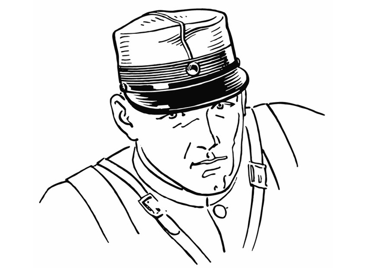 Coloring page Soldier with cap
