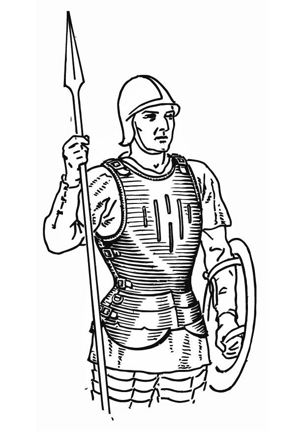 Coloring Page Soldier With Cuirass Free Printable