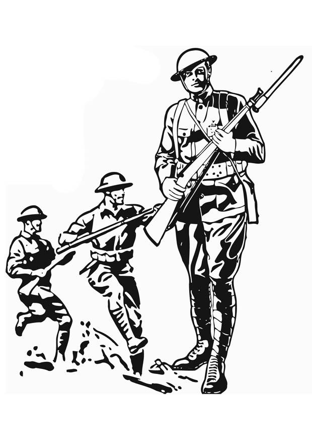 coloring page soldier wwi