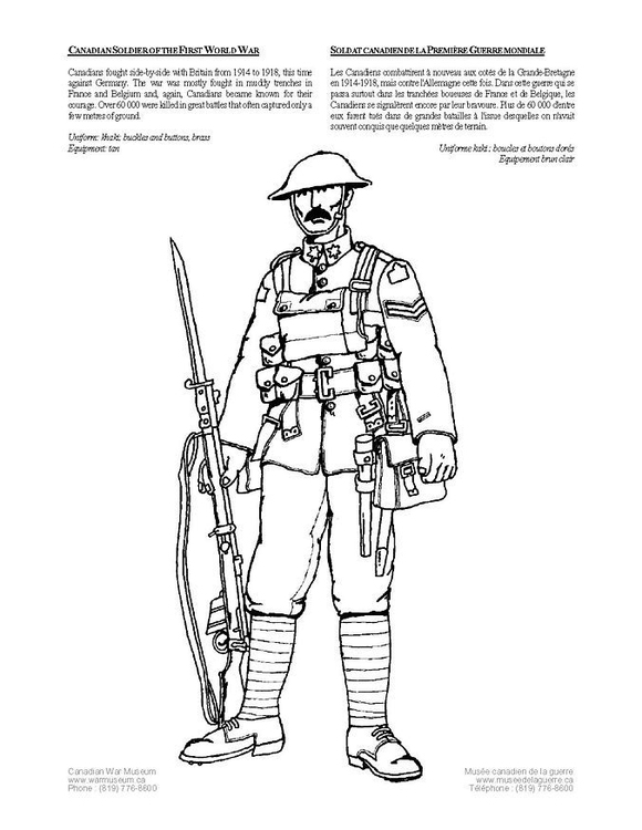 Coloring page soldier,WWI