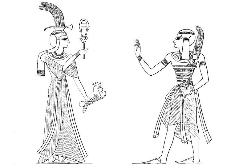 Coloring page son and daughter of Ramses II