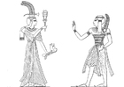 Coloring pages son and daughter of Ramses II