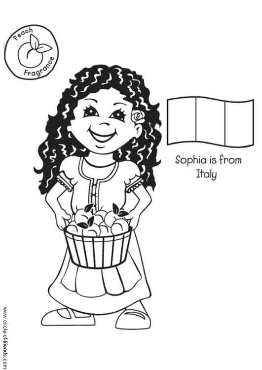 Coloring Page Sophia from Italy - free printable coloring ...