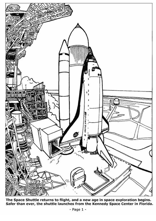 Coloring page space shuttle launching