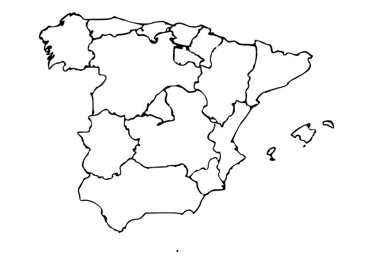 Map Of Spain Drawing.Coloring Page Spain Img 10485