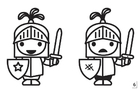 Coloring page spot the difference - knight