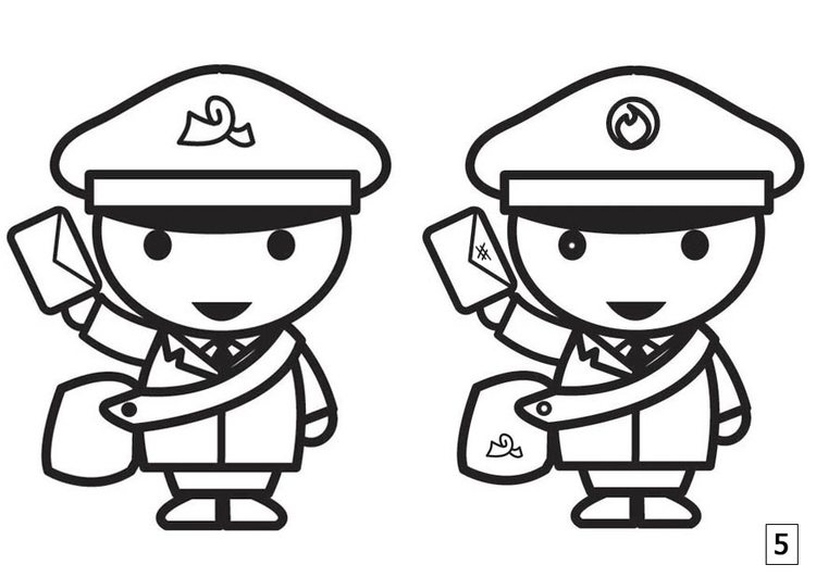 Coloring page spot the difference - mailman