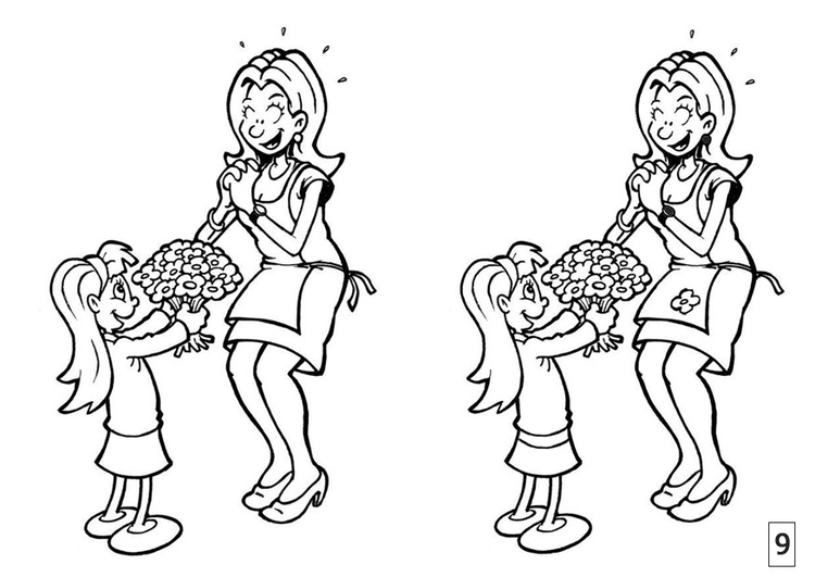 Coloring page spot the difference - Mother's Day