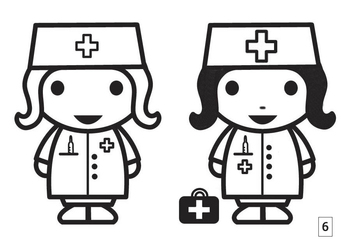 Coloring page spot the difference - nurse