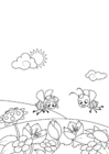 Coloring pages spring, bees in the garden