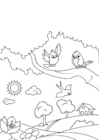 Coloring pages spring, birds in the garden