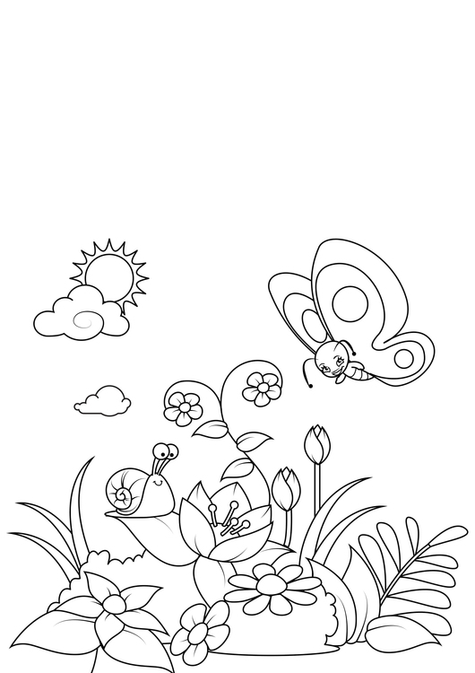 Coloring page spring