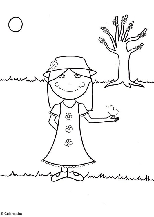 Coloring page 07b. spring