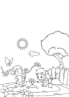 Coloring pages spring, gardening