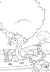 Coloring page spring in the forest