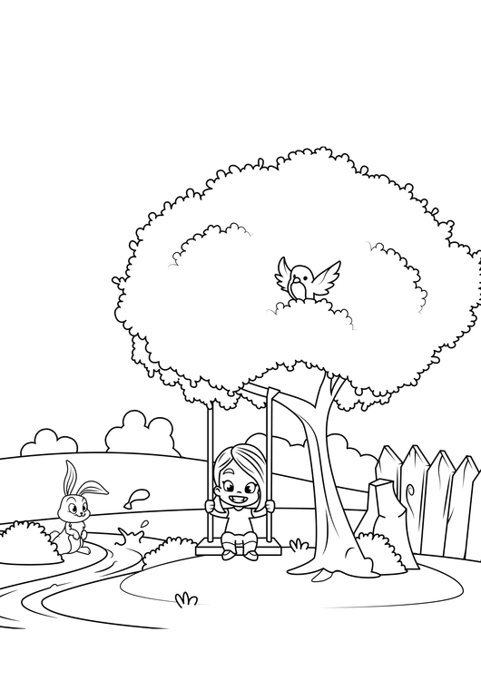 Coloring page Spring in the garden