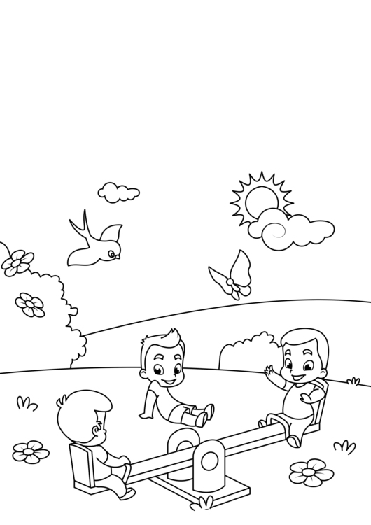 Coloring page spring, on the swing