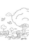 Coloring pages spring picnic