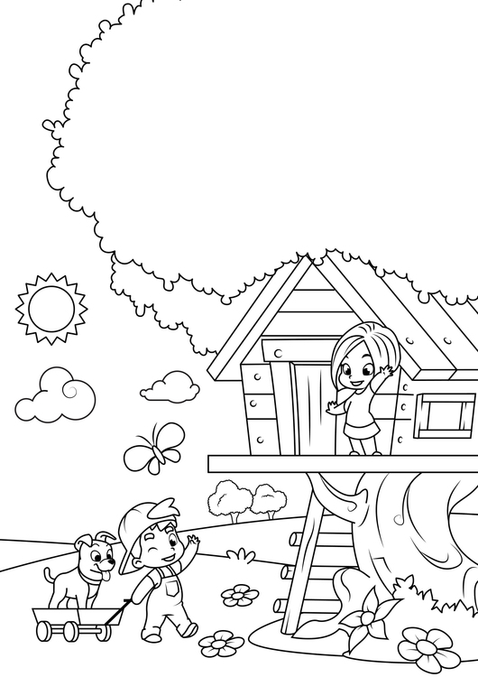 Coloring page spring - playing in the tree house