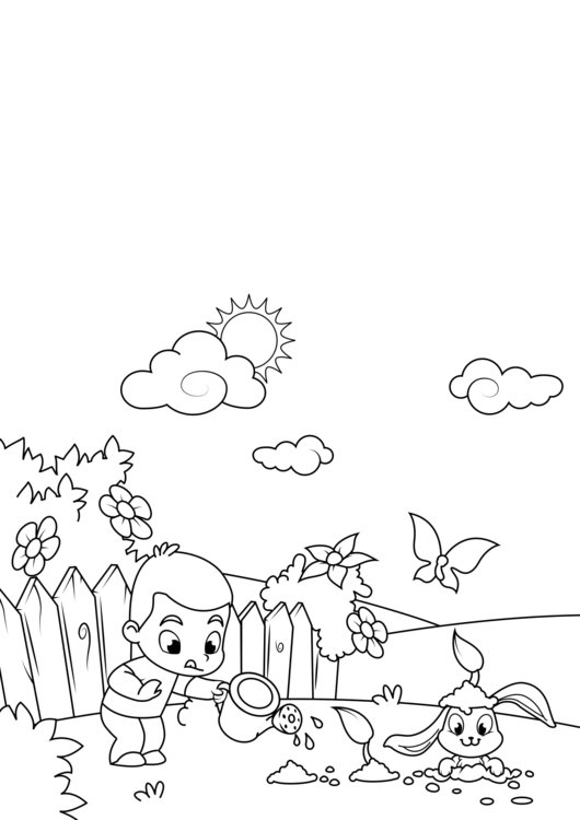 Coloring page spring, work in the garden