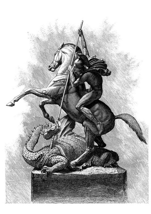 Coloring page St George and the dragon
