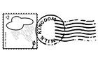 Coloring pages stamped postage stamp