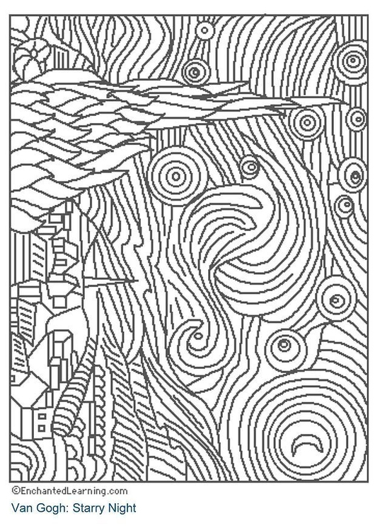 Coloring Page Starry Night