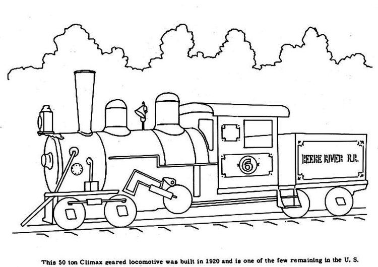 Coloring page steam locomotive