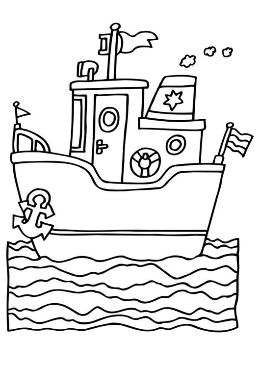 Coloring page steam ship