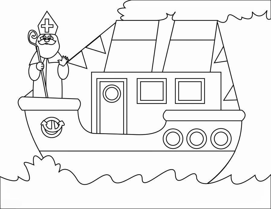Sinterklaas Op De Stoomboot Kleurplaten Coloring Page Steamboat Free Printable Coloring Pages