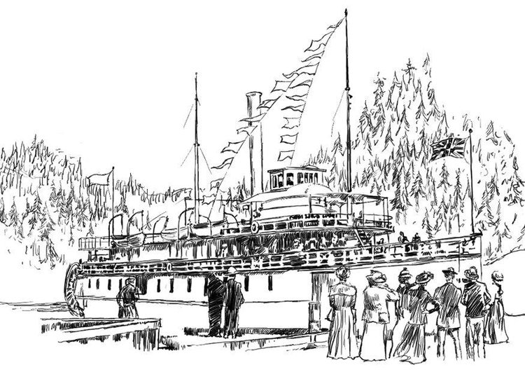 Coloring page steamboat