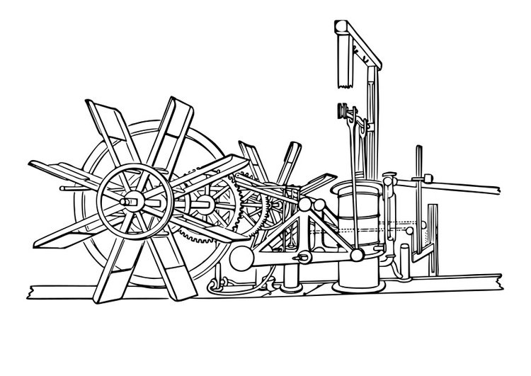 Coloring page steamboat machinery