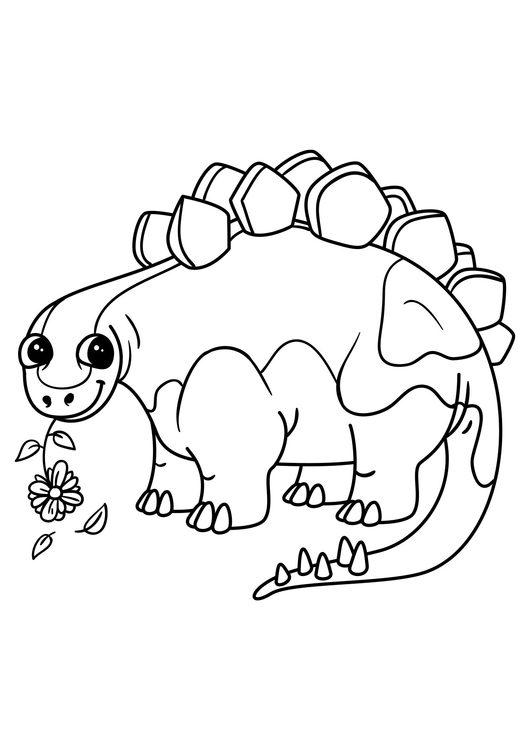 - Coloring Page Stegosaurus With Flower - Free Printable Coloring Pages